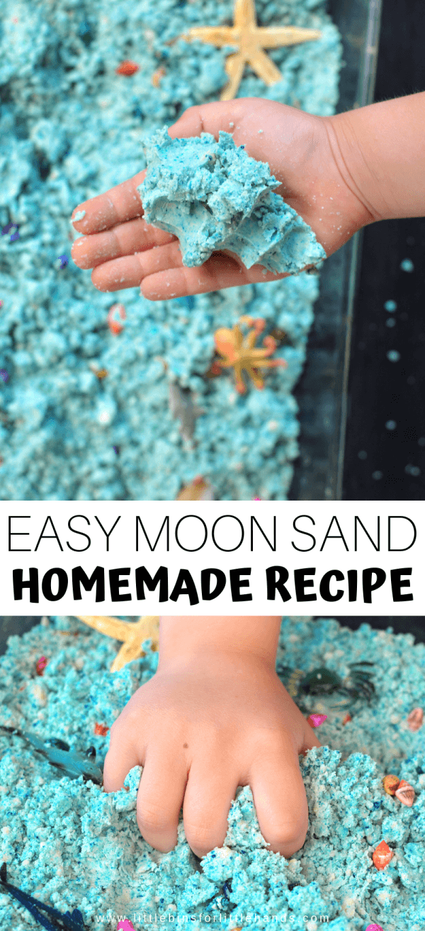 How to make your own colored moon sand or cloud dough for awesome sensory play fun for kids!