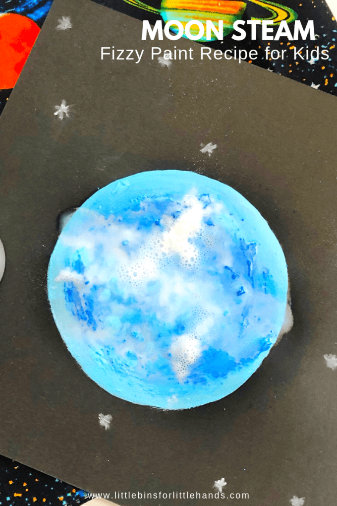 Try this fun STEAM activity for kids. Make a picture of the moon with fizzy paint.