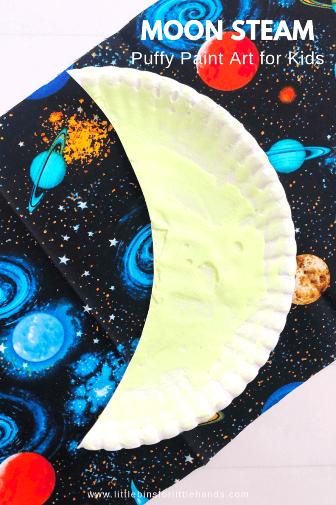 Make your own glow in the dark puffy paint for this moon craft.