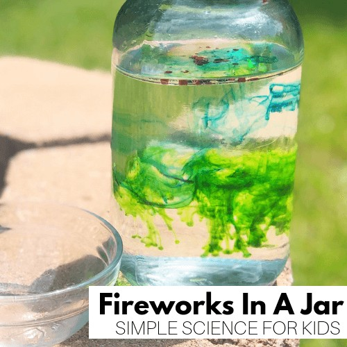 Fireworks in a jar for 4th of July science activity.