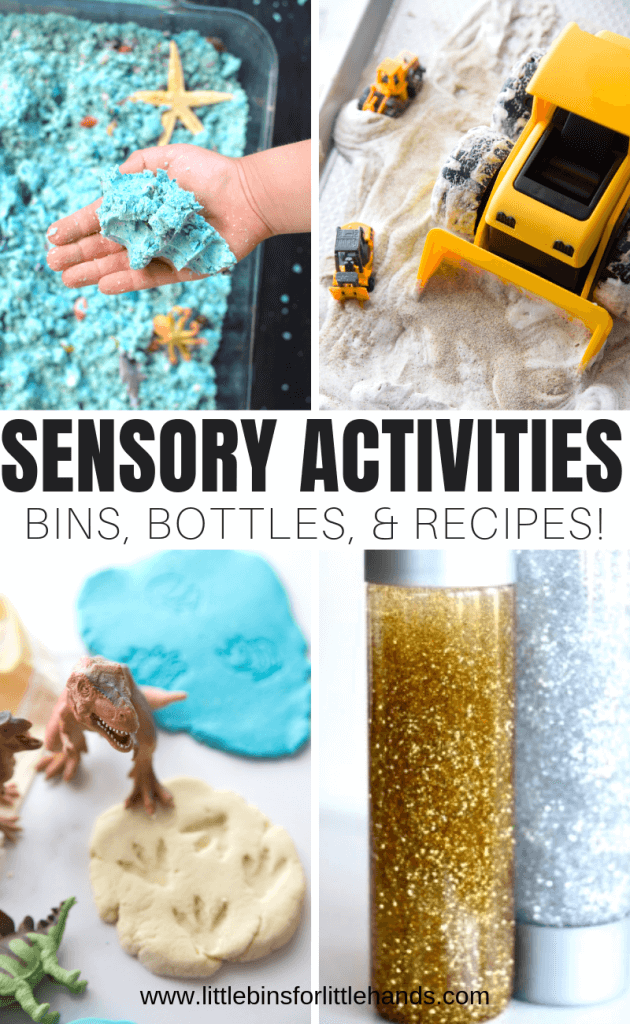 Sensory activities for kids.  From kinetic sand, playdough, slime making to sensory bottles.