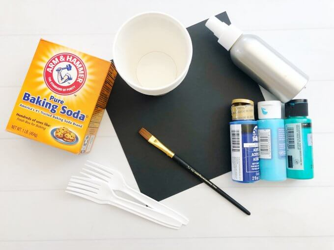 supplies for fizzy paint moon craft