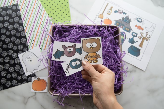 adding halloween items printable to purple crinkle paper