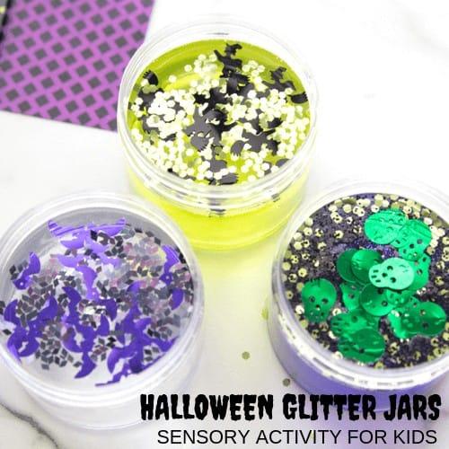 Halloween glitter jars for sensory play.
