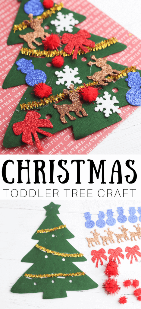 Make this easy Christmas toddler craft with felt Christmas tree and sparkly decorations.