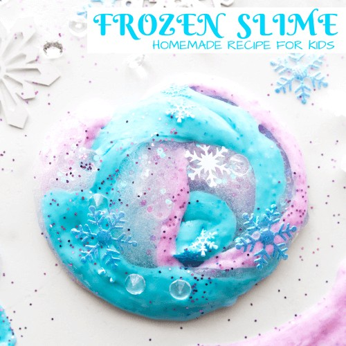Frozen slime recipe for Frozen birthday party.