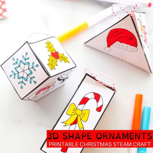 Shape ornaments for kids to make.