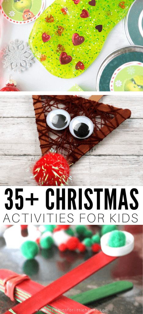 35+ Christmas activities for kids including Christmas crafts, DIY ornaments, Christmas games, science activities and more!