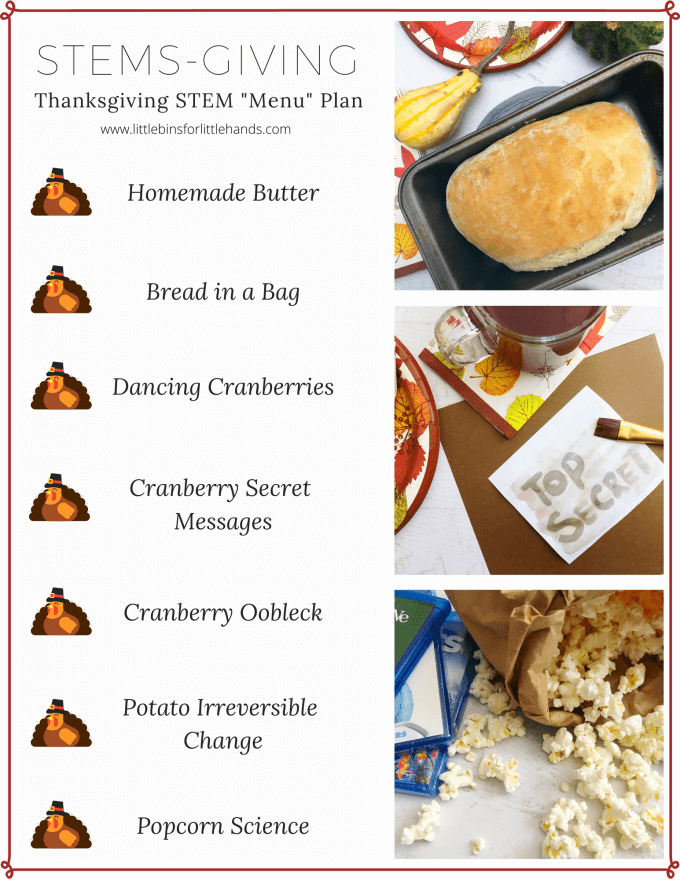 Easy Thanksgiving Lesson Plans for a Kids STEMs-Giving and food science experiments.