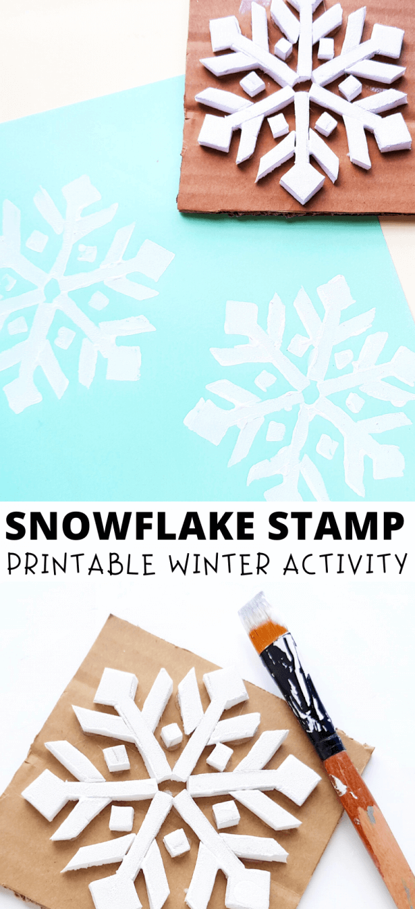 Snowflake craft for kids - make your own snowflake stamp and print some gorgeous wintery patterns.