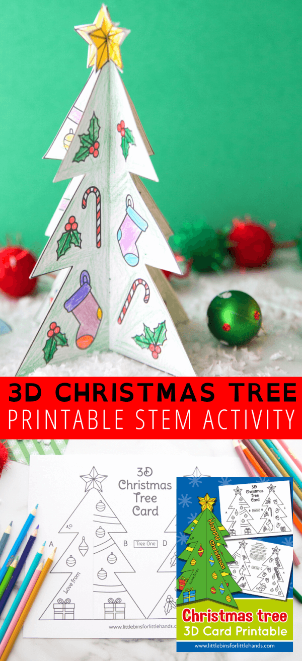 Make your own 3D Christmas tree decoration or homemade card with our free printable Christmas tree template.