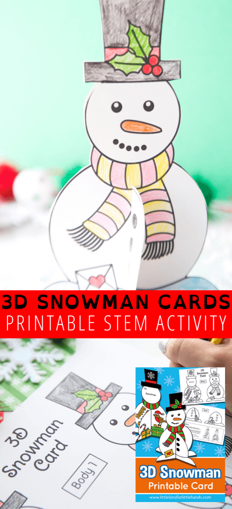 Make your own homemade 3D Christmas cards for kids with our free printable snowman template.