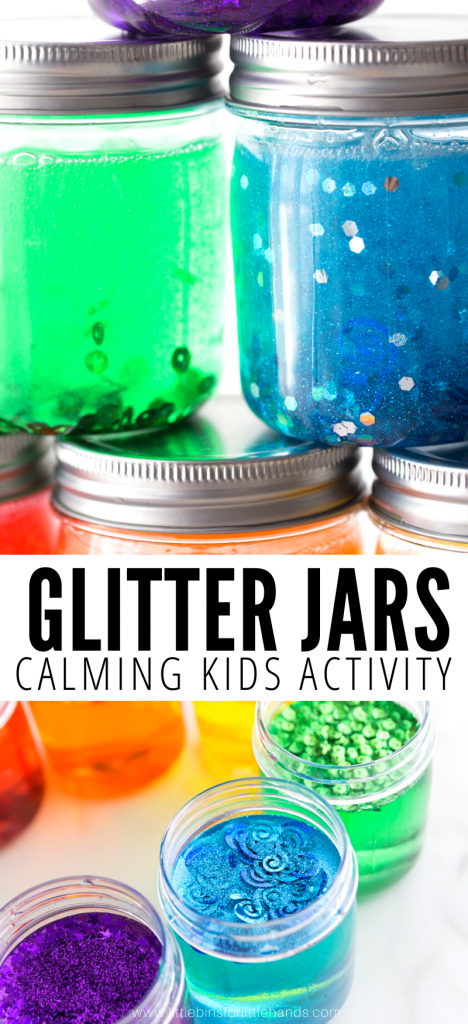 How to make a glitter jar with a few simple supplies.  Calming glitter jars are great for kids.