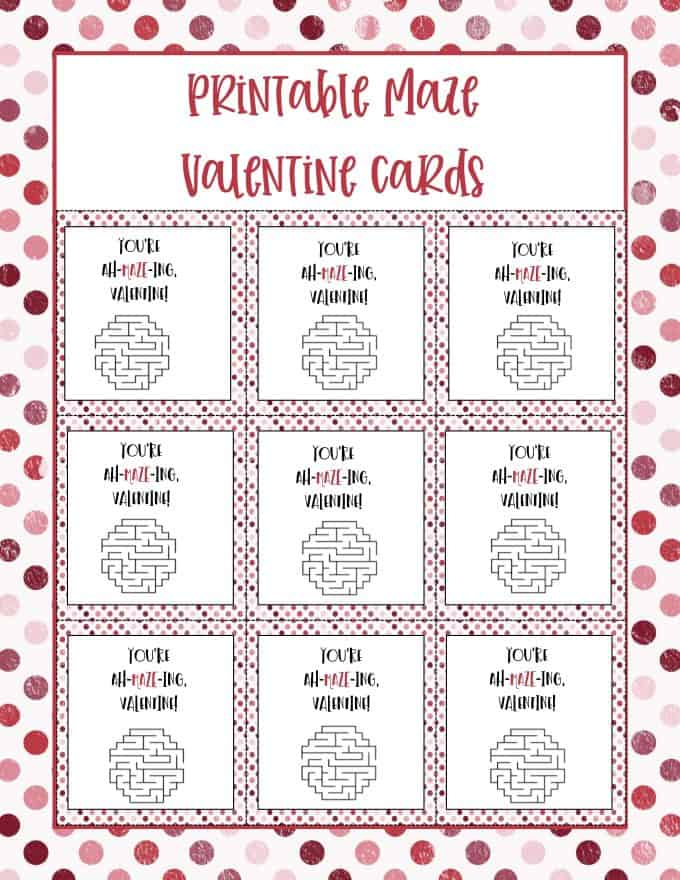 Printable Valentine cards for kids.  You are ah-mazing!