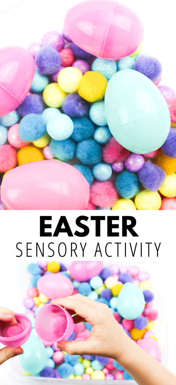 Try this fun hands-on Easter game for preschoolers and toddlers.  Create a colorful Easter sensory bin with simple materials.