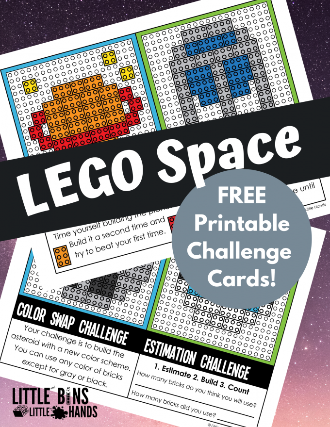 Lego Space Challenge Cards for kids.