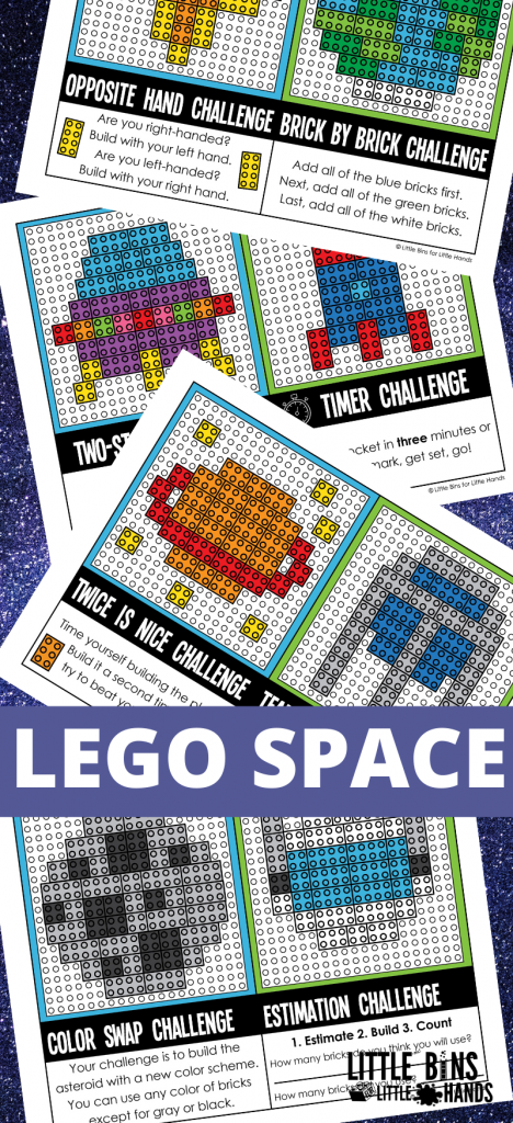 LEGO space challenge cards with tasks for kids to build