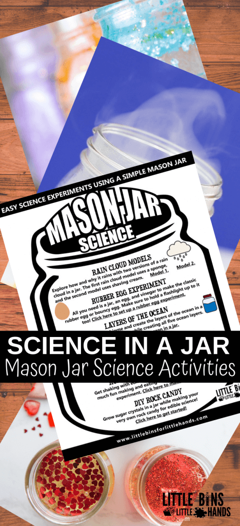 Try science in a jar with these simple mason jar science activities that include cloud models, homemade butter, and more!,