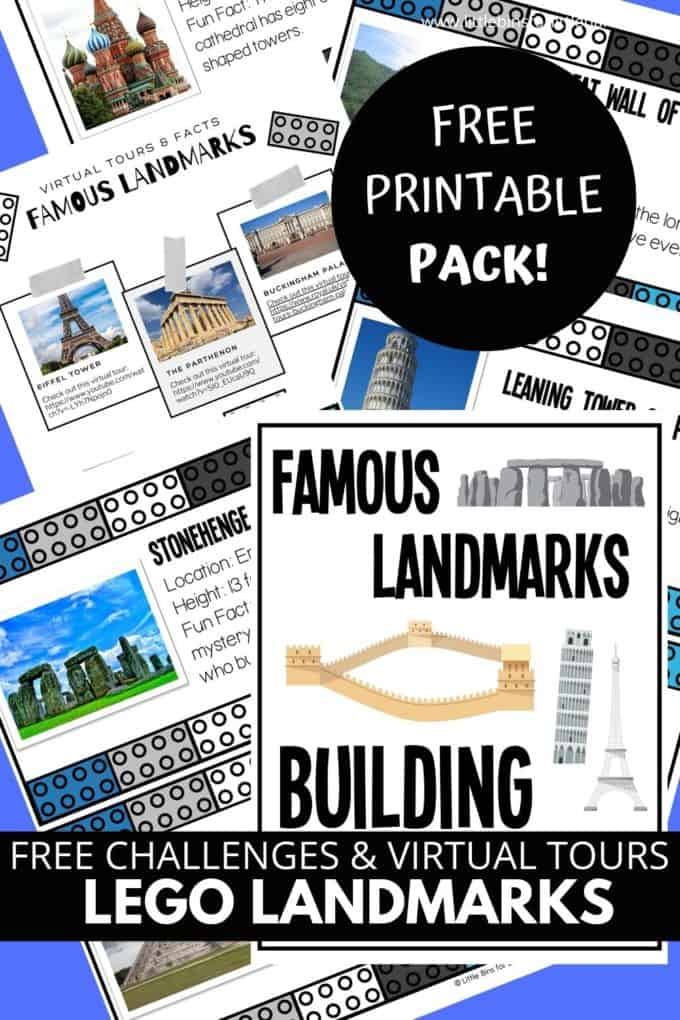 LEGO landmark challenges and building ideas for famous places around the world. Also includes virtual tours!