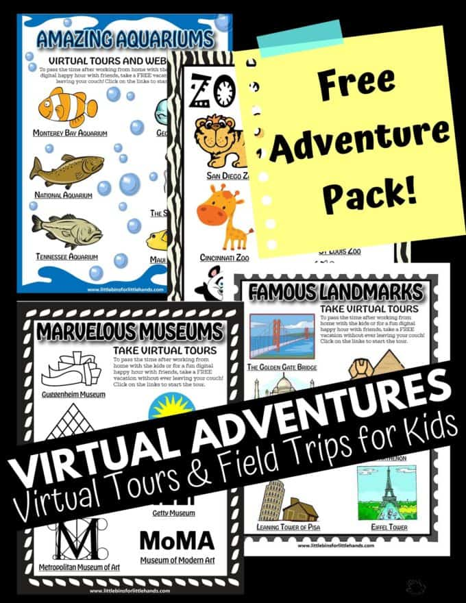 Virtual field trips and tours include landmarks, museums, aquariums, and zoos.