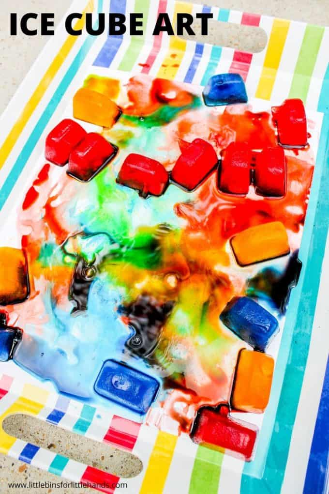 Ice painting for preschoolers with ice cube art