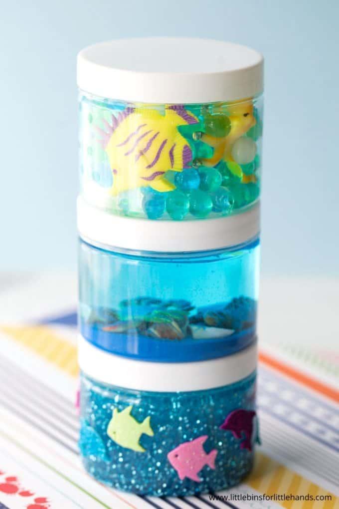 Easy ocean sensory bottle activity for kids with calm down jar ideas