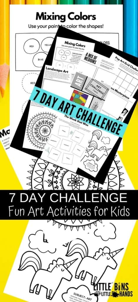 Art projects for kids including 7 days of art challenge ideas.