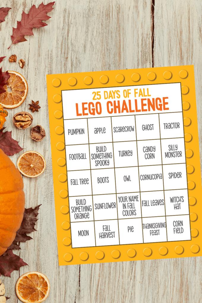 Fall LEGO Challenge Calendar for Kids