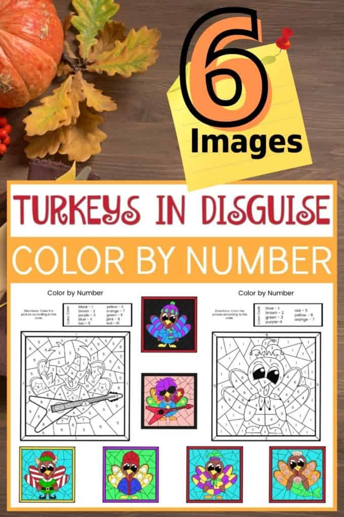 Turkey Disguise Color By Code Activity for Thanksgiving