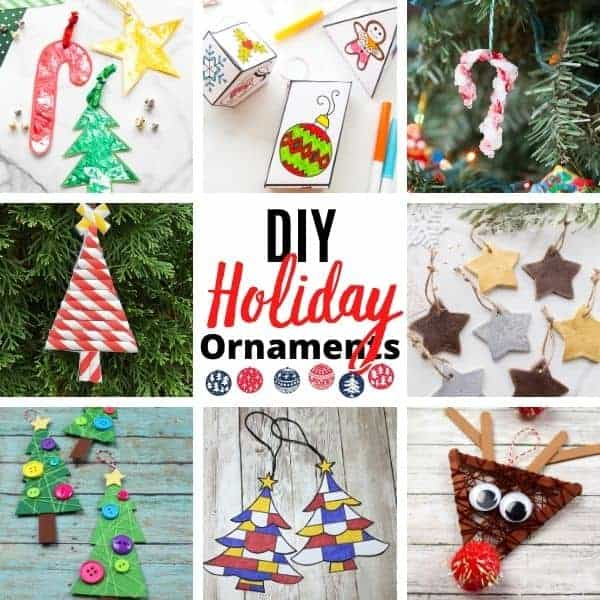 DIY Christmas Ornaments for kids to make this holiday season.  Our favorite homemade decorations to hang on the tree.