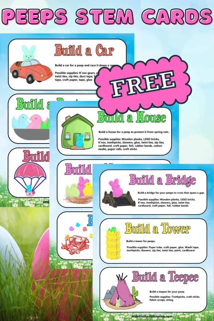 Grab these free peeps STEM cards for kids this Easter!